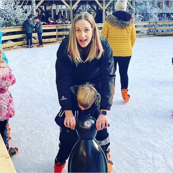 Michelle ice skating with son-Believe in Body Magic-Slimming World blog