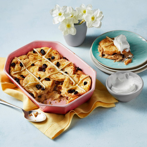 Hot cross bun bread and butter pudding-easy Easter menu-Slimming World blog