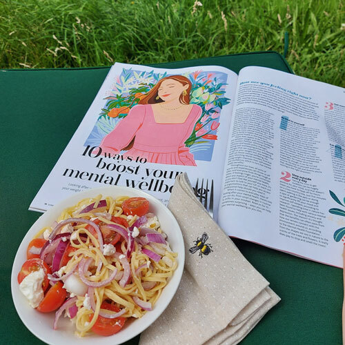 Slimming World Magazine feature and pasta plate outside-making time for you-slimming world blog