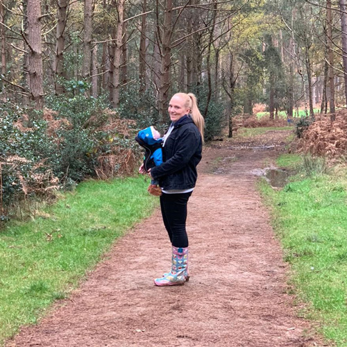 Florence walking in woods-believe in Body Magic this Christmas-slimming world blog