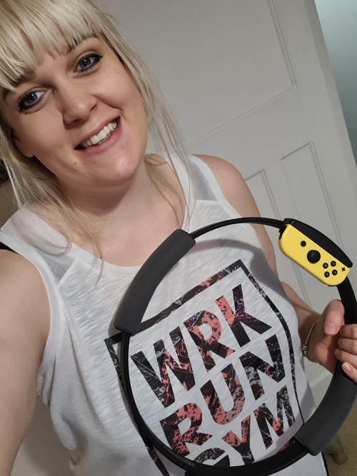 Leah holding games controller-believe in Body Magic this Christmas-slimming world blog