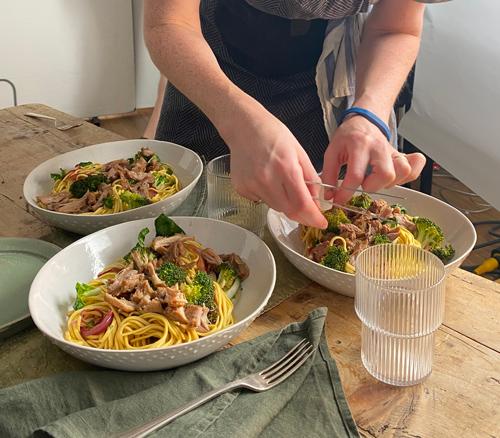 Arranging beef noodles-behind the scenes slimming world magazine-slimming world blog