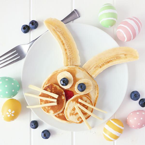 Bunny rabbit made from pancakes with banana ears