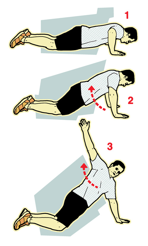 Press up with twist illustration-10-minute workout-slimming world blog