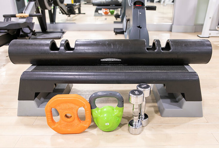 set of weights in a gym