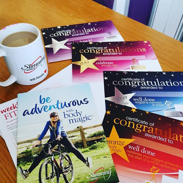 Slimming World Body Magic certificates