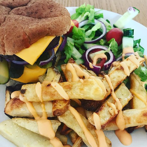 Slimming World burger and chips