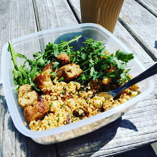 Couscous, sausages, rocket leave in bowl-picnic food ideas-slimming world blog