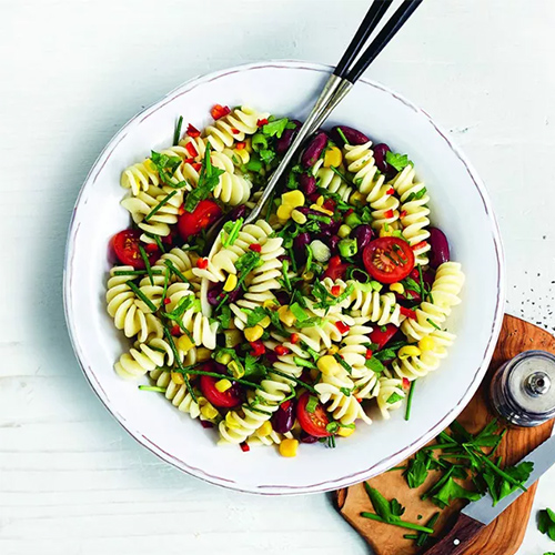 Pasta bean salad in white bowl-slimming world salads-slimming world blog