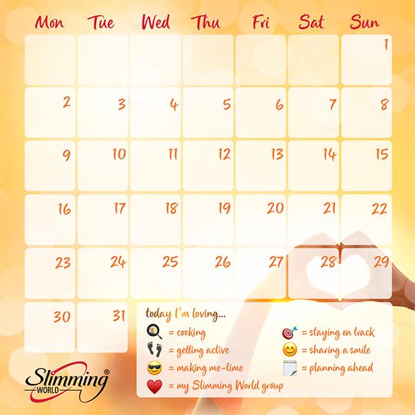 Slimming World summer of love calendar