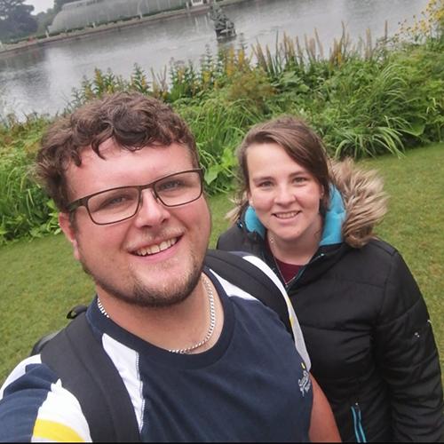 Natalie and friend walking in Kew Gardens
