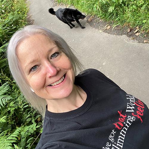 Sue and black labrador walking-Slimming World's summer of love challenge