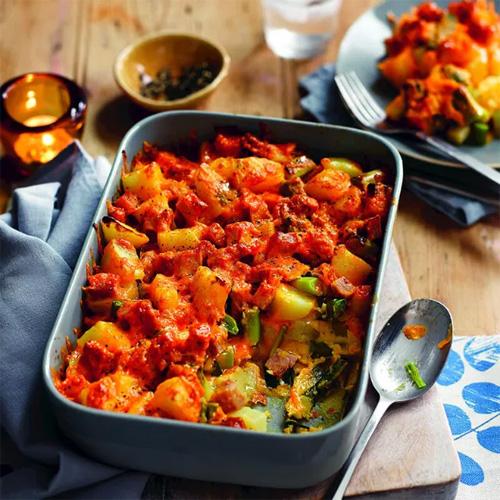 Cheesy potato and ham bake in baking tray-student recipes-slimming world blog