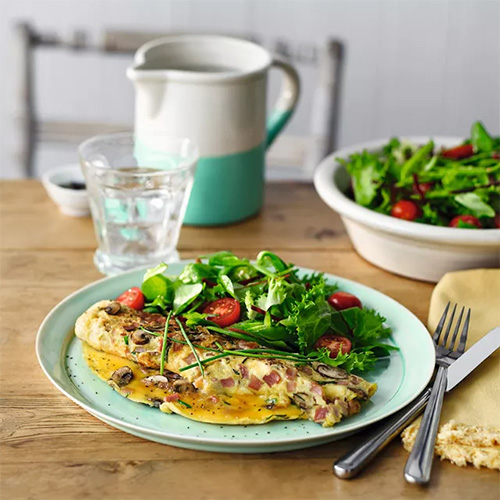Ham and mushroom omelette with salad-recipes for students-slimming world blog