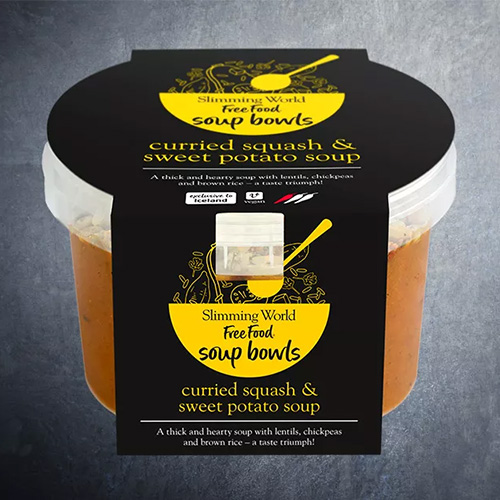 Curried squash and sweet potato soup packaging-slimming world food range