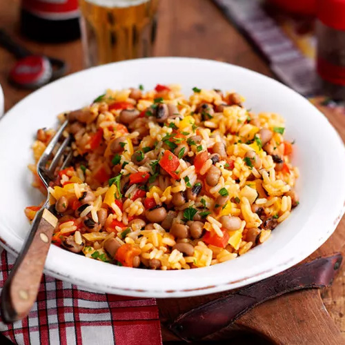 Dirty rice in white bowl-student recipes-slimming world blog