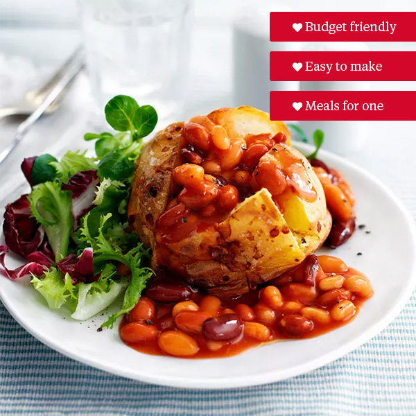 Jacket potato with beans and salad-student recipes-slimming world blog