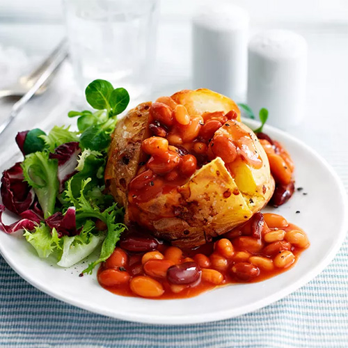 Jacket potato with mixed beans and salad-student recipes-slimming world blog