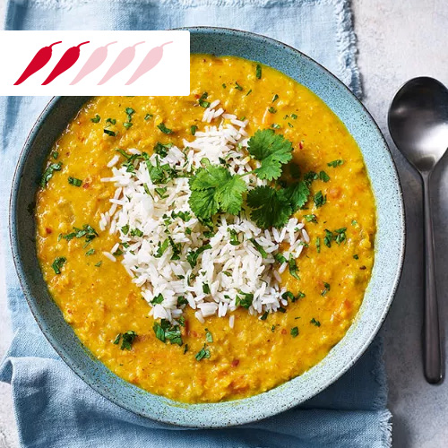 Carrot and coconut dhal with rice in blue bowl-slimming world curry recipes