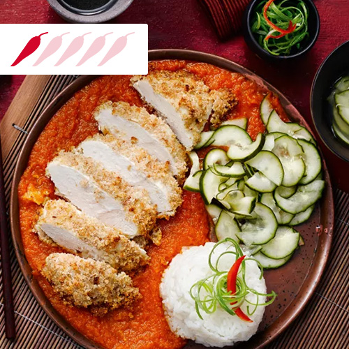Chicken katsu curry on brown plate-slimming world curry recipes