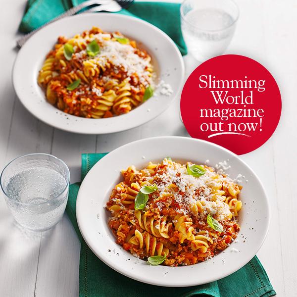 Pork pasta bolognese in white bowls-slimming world magazine-slimming world blog